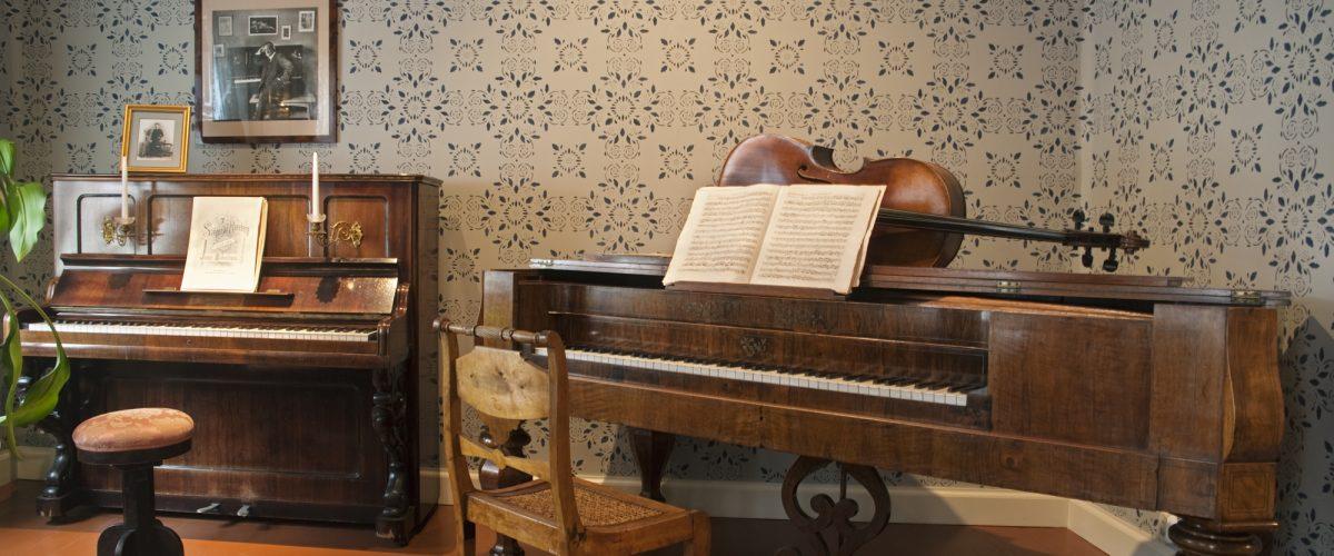 Sibeliuksen syntymäkoti, isännän huone, kuvassa soittimia